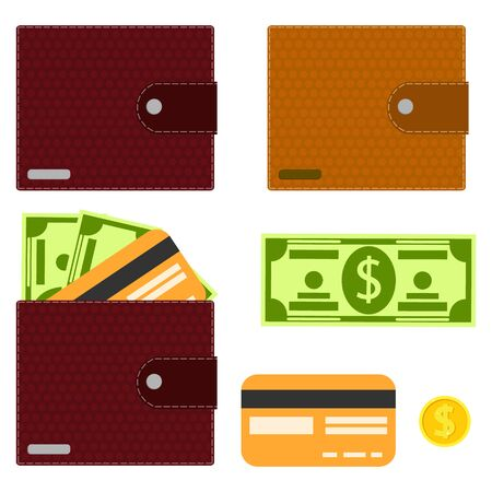 Wallet, mens purse. Wallet with money and a credit card. Banknote, gold coin, credit card and wallet. Vector illustration. Vector