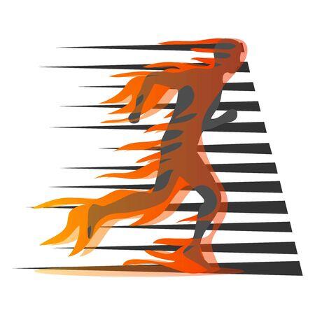Laufender Mann, Silhouette eines laufenden Mannes in Brand. Vektorillustration eines laufenden Mannes