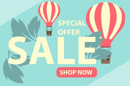Summer sale banner. Sale banner with balloons and leaves on a blue background. Vector illustration, vector.