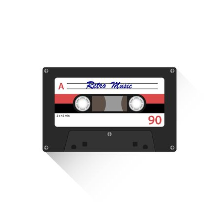 Retro audio cassette. Retro audio cassette icon with shadow isolated on white. Vector illustration. Vector Vektoros illusztráció