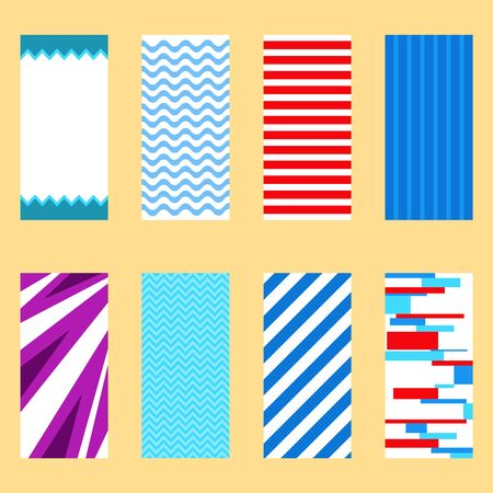 Beach towel, a set of colored beach towels. Vector illustration of a beach towel. Vector