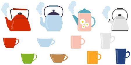 Kettle with a cup. A set of boiling kettles with a cup of tea. Vector illustration, vector. Illustration