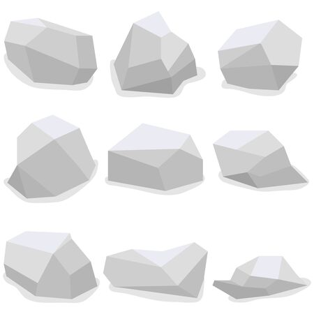 Stones, a set of stones with shadows. Flat design, vector illustration. Vector