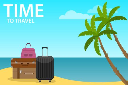 Baggage, luggage, suitcases with travel icons and objects on tropical background. Time to travel banner. Flat style vector illustration. Vector