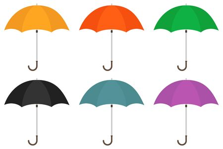 Umbrella, set of umbrellas. Vector illustration of an umbrella. Vector. Çizim