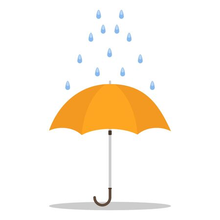 Umbrella, rain dripping on the umbrella. Vector illustration of an umbrella. Vector. Çizim