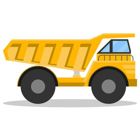 Dump truck, big mining truck isolated on white background with shadow. Vector illustration of a yellow dump truck. Vector Foto de archivo - 134878561