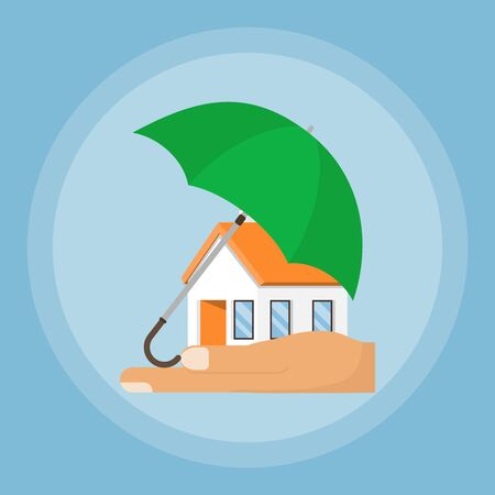 An insurance agent protects the home from the environment. Umbrella protects the house. House in the palm with an umbrella. Vector. Illustration