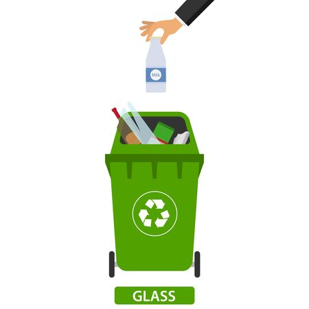Hand throws garbage in the trash. Man throws garbage into the container. Flat design, vector.