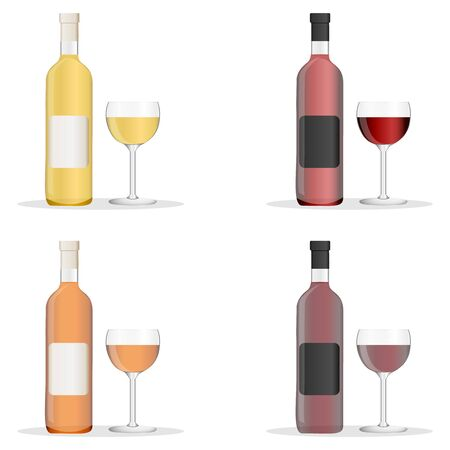 Wine bottles and glasses filled with different varieties of wine. Set of white, rose, and red wine bottles and glas. isolated on white background. Vector
