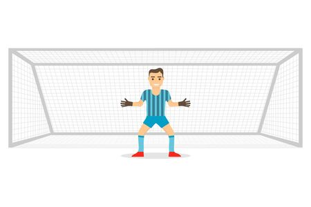 Goalkeeper at the gate. Goalkeeper stands on the gate isolated on white background. Realistic gates with goalkeeper. Vector illustration. Vector Foto de archivo - 134846438