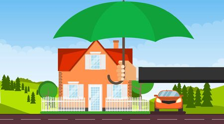 The house is protected. A hand with an umbrella protects a house with a car from the environment. Vector illustration, vector