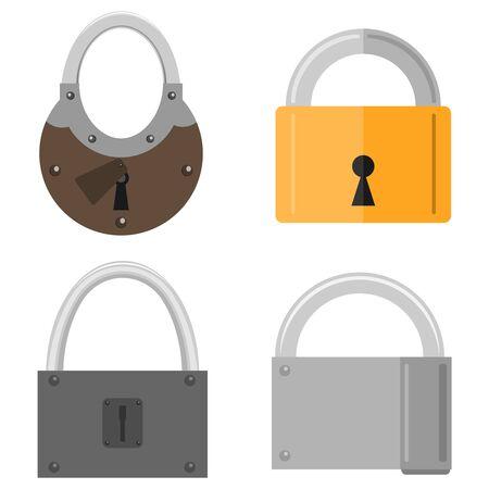 Padlock, a set of padlocks. Vector illustration of a padlock. Vector Illusztráció