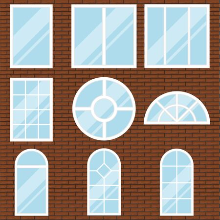 Windows, a set of white windows on a brick wall background. Flat design, vector.
