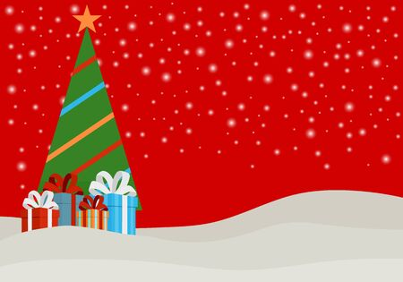 New Year banner with a Christmas tree and gifts under it. New Years poster in red with a Christmas tree and boxes of gifts in the snow. Vector illustration, vector. Illusztráció