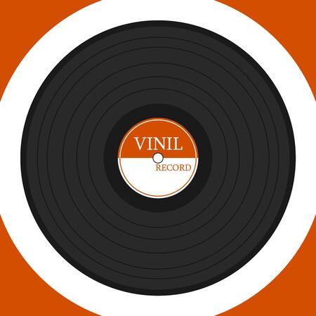 Schallplatte isoliert auf weiss. Vintage-Schallplatte. Vektor-Illustration. Vektor.