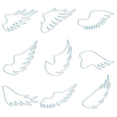 Angel wings. Set of angel wings isolated on white. Vector illustration. Vector. Zdjęcie Seryjne - 138445960
