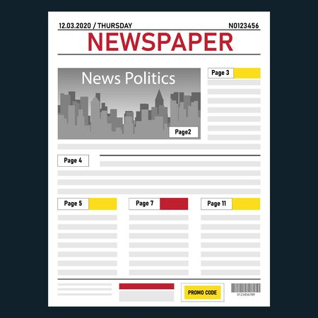 Newspaper. Realistic daily newspaper template with pagination and news. Vector illustration of a newspaper isolated on dark. Vector.