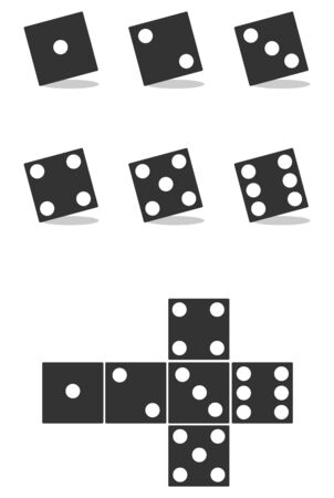 Dice in black with shadow isolated on white background. Vector illustration of dice. Vector.
