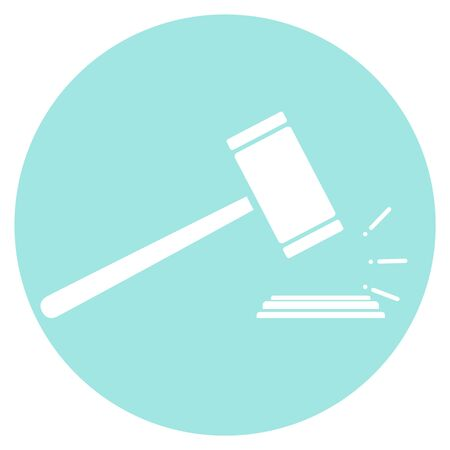 Gavel judge, judge hammer icon. Judge hammer isolated on turquoise background. Vector illustration, vector.