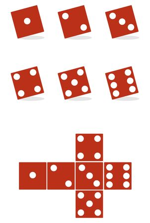 The dice are red. Red dice isolated on white. Vector illustration, vector. Vectores