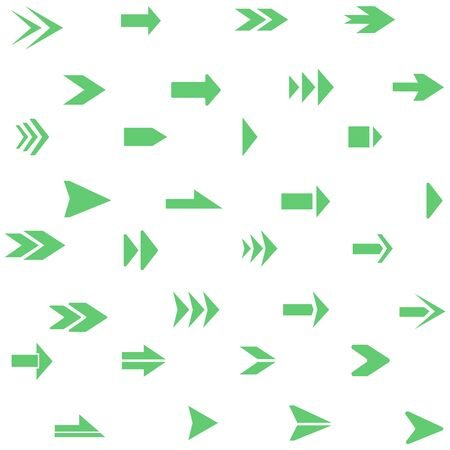 Arrows pointers. A large set of green direction arrows. Vector illustration of an arrow. Vector.