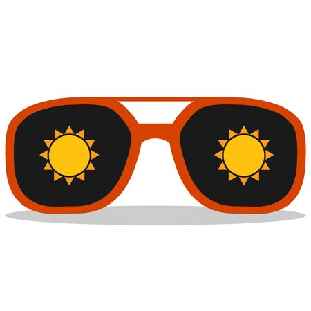 Sunglasses with black glass and a sun icon on it. Red sunglasses with a sun icon. Vector, cartoon illustration. Vector.
