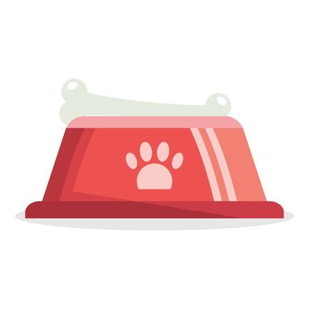 A bowl for dogs, a bowl with dog food. Vector, cartoon illustration of a realistic dog food bowl. Vector.