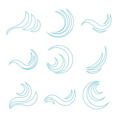 Wave icon, blue abstract wave. Set of blue wave icons on white. Vector, cartoon illustration. Vector.