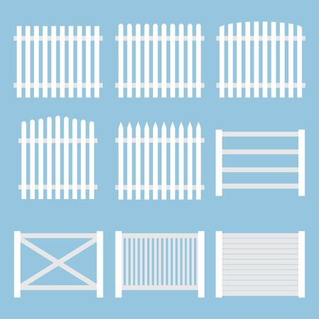 Fence. White vintage fence isolated on a blue background. Vector, cartoon illustration. Vector.