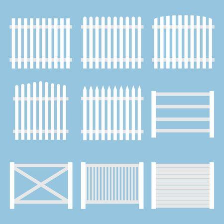 Clôture. Clôture vintage blanche isolée sur fond bleu. Vecteur, illustration de dessin animé. Vecteur.