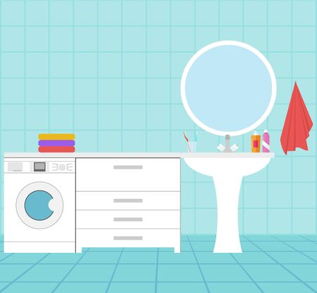 The interior of the bathroom. Bathroom with a washing machine, mirror, washbasin and furniture. Vector, cartoon illustration. Vector.