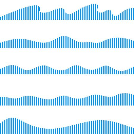 Wave icon. Set of blue wave icons in the form of oscillation amplitudes. Vector, cartoon illustration. Vector.