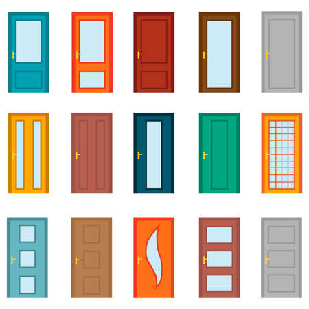 Door, set of cartoon colored doors isolated on a white background. Vector, cartoon illustration. Vector.