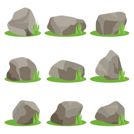 Stones, set of stones with green grass isolated on a white background. Vector, cartoon illustration. Vector.