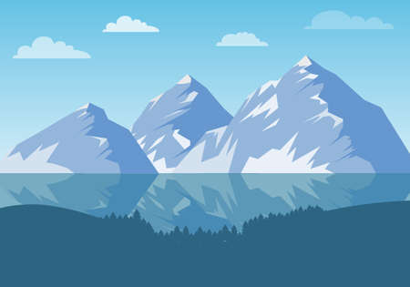 Mountain landscape with a lake and trees. Mountains, lake, trees. Vector, cartoon illustration Vector