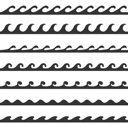 Waves, waves icon in black color isolated on white background. Vector, cartoon illustration. Vector.