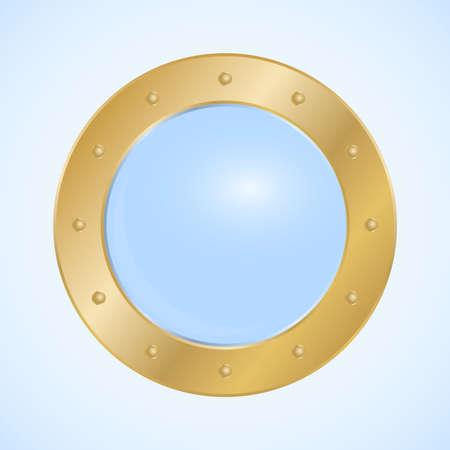 Round porthole, round golden porthole window isolated on light background. Vector, cartoon illustration. Vector. Vektorové ilustrace