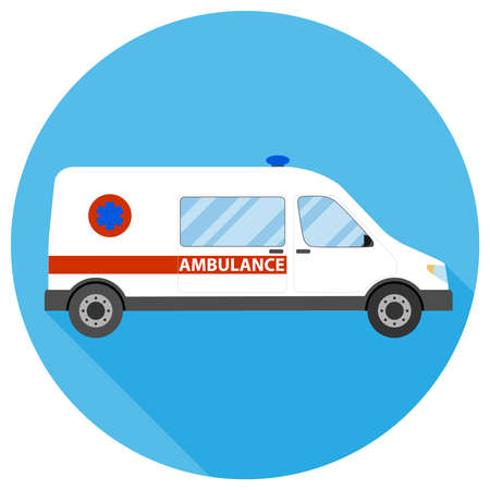 Ambulance. Ambulance car on a blue background with shadow. Vector, cartoon illustration. Vector.
