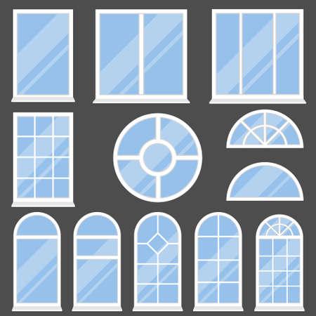 Windows, modern and vintage windows on a dark background. Vector, cartoon illustration. Vector.