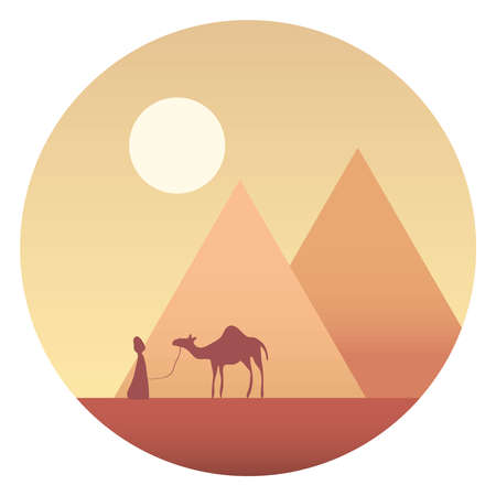 Bedouin with a camel against the background of the Egyptian pyramids and the desert. Bedouin leads a camel. Vector, cartoon illustration. Vector.