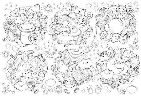 Halloween Concept. Hand drawn doodle illustration. Seamless magic pattern. Cartoon Doodle Patches and Badges. Anti-stress coloring page for adult