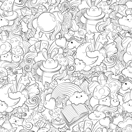 Vector hand drawn path, potion, magic, tricks, cards, hat, cloud, heart, stars, illustration for adult coloring book. Sketch for adult anti stress coloring book page with doodle and zentangle elements