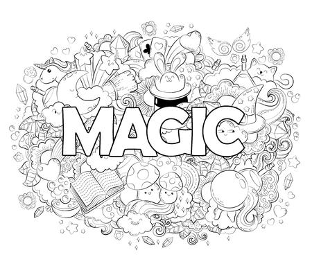 Vector Dibujado A Mano Camino, Poción, Magia, Trucos, Cartas ...