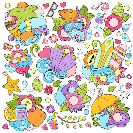 cartoon umbrella: Doodle hand drawn vector abstract background, texture, pattern, wallpaper, backdrop. Collection of summer elements. Summer vacation, travel, recreation. Anti-stress coloring book page for adults