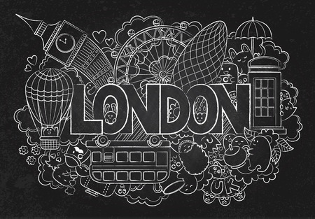 abstract background chalkboard with hand drawn text london hand