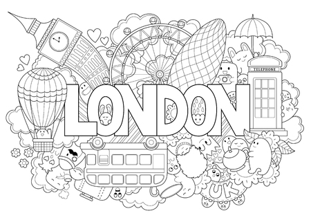 Abstract background with hand drawn text London. Hand lettering. Template for advertising, postcards, banner, web design, printing on clothes. Set of cartoon characters. Line art detailed Vettoriali