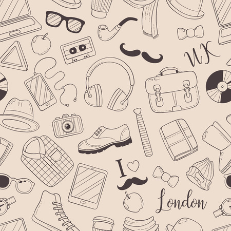 Seamless background, pattern, wallpaper, texture. Template for flyer, advertisement, banner. Vector Doodle Icons Collection. Hipster accessories. Hipster style elements and icons set for retro design