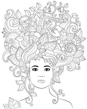 Vector hand drawn illustration woman with floral hair for adult coloring book. Freehand sketch for adult anti stress coloring book page with doodle and zentangle elements.