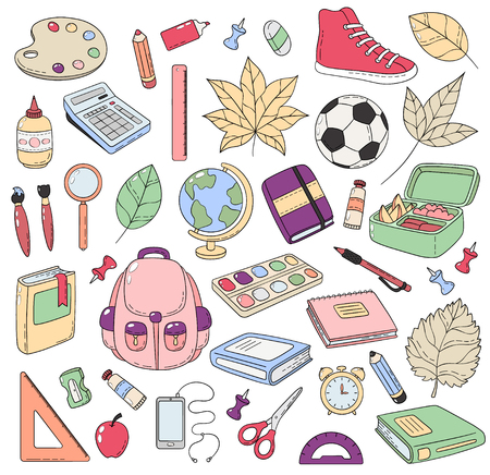 Vector Doodle Icons Collection. School supplies. Back to school, the first day of study. Background, pattern, wallpaper, texture. Template for flyer, advertisement, banner.